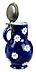 Detail images: Blau bemalter Birnkrug in Fayence