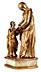 Detail images: Schnitzfigurengruppe der Heiligen Anna bei der Lehrunterweisung der jugendlichen Maria