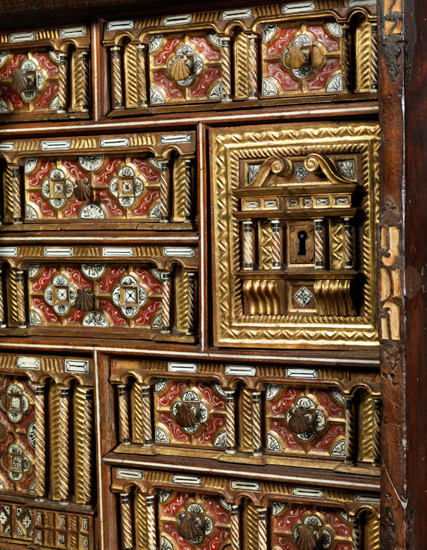 Detailabbildung: Seltenes Barock-Reisekabinett, sog. Bargueño