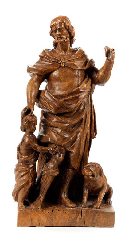 Schnitzfigurengruppe des Heiligen Rochus