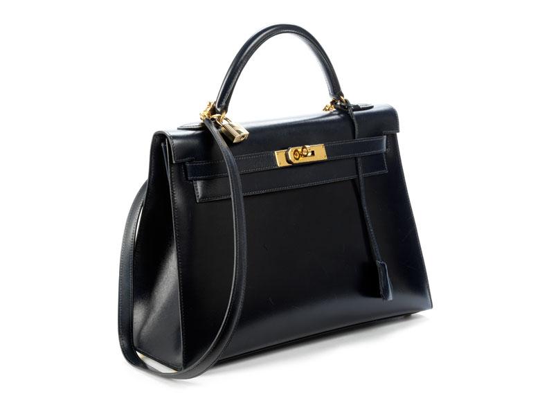 Nachtblaue Hermès Kelly Bag 30 cm