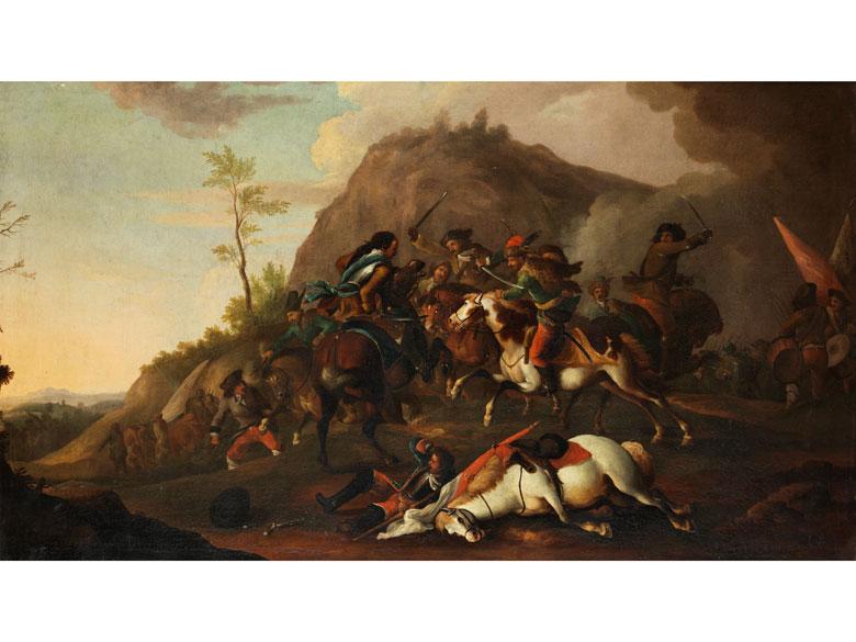 Deutscher Schlachtenmaler des 18. Jahrhunderts in der Art des Philips Wouwerman, 1619 – 1668