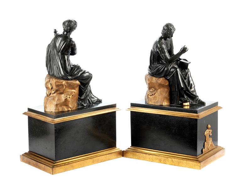 Detailabbildung: Paar klassizistische Kaminbronzefiguren