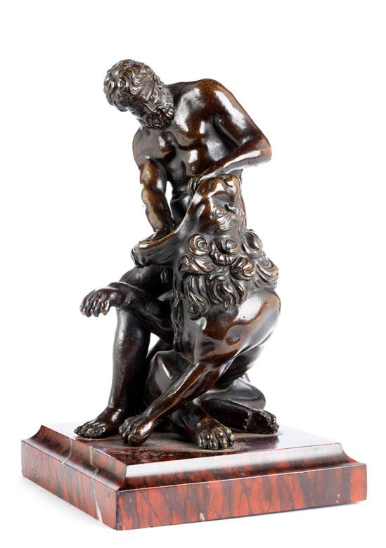 Bronzefigurengruppe nach der Antike Herkules mit dem Nemeischen Löwen