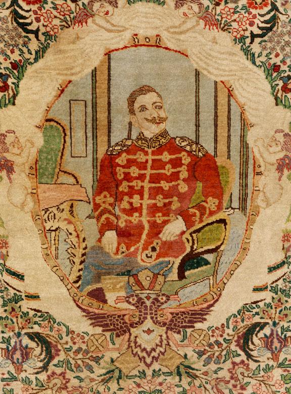 Detailabbildung: Persischer Teppich mit Darstellung von Kaiser Wilhem II