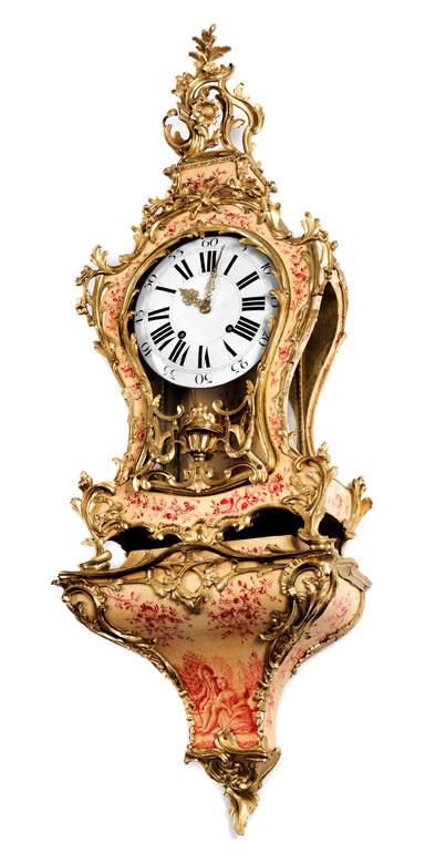 Grosse Louis XV-Cartelluhr auf Konsole