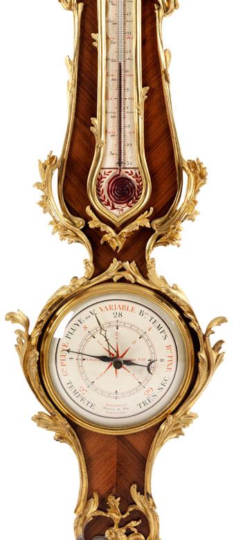 Detailabbildung: Französisches Barometer aus Rosenholz