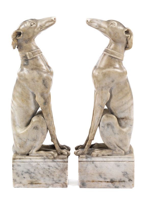 Detailabbildung: Paar Marmorhunde