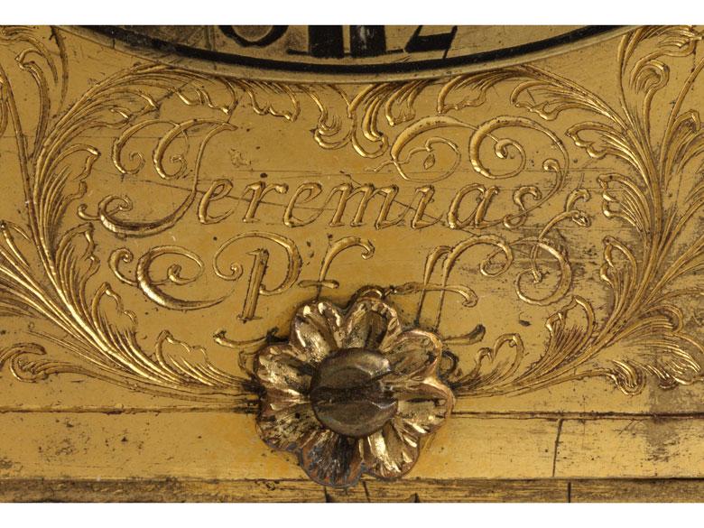 Detailabbildung: Seltene kleine Augsburger Tischuhr von Jeremias Pfaff