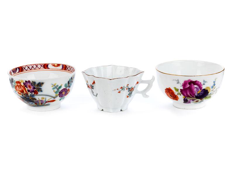 Drei Meissener Porzellanteile des 18. Jahrhunderts