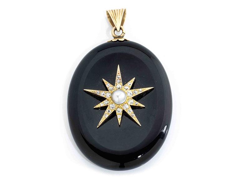 Onyx-Diamant-Medaillonanhänger