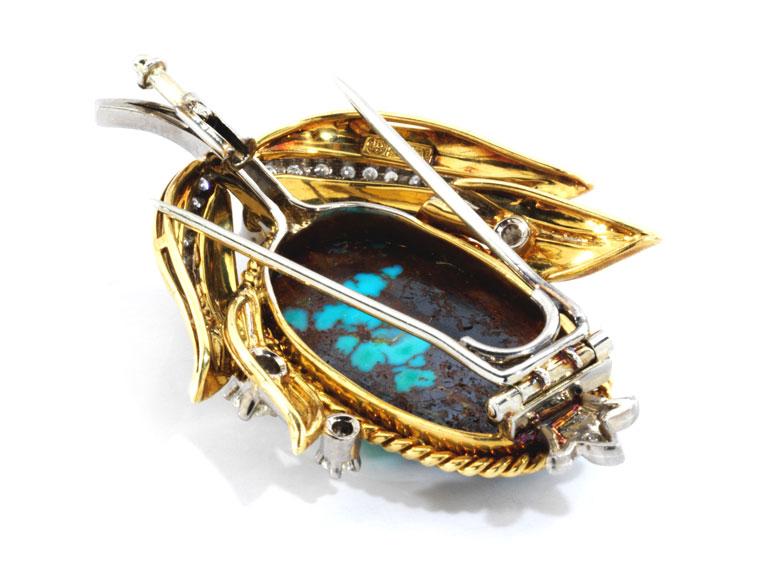 Detailabbildung: Türkis-Diamant-Blütenbrosche