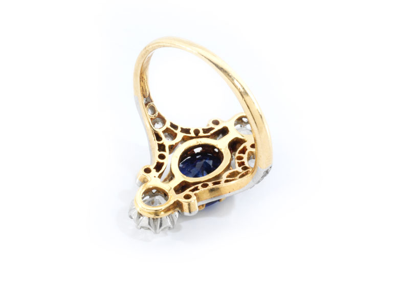 Detailabbildung: Jugendstil-Saphir-Diamantring