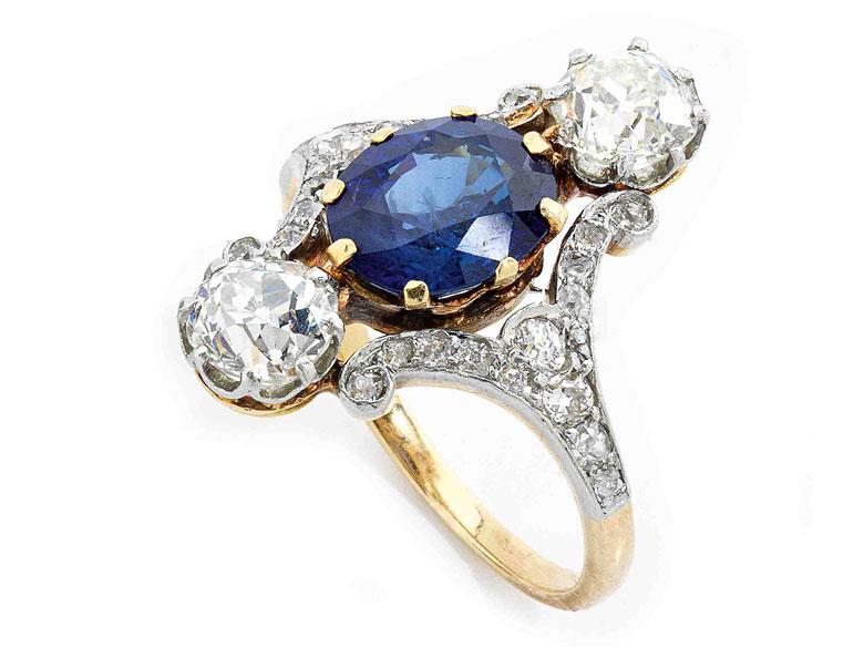 Jugendstil-Saphir-Diamantring