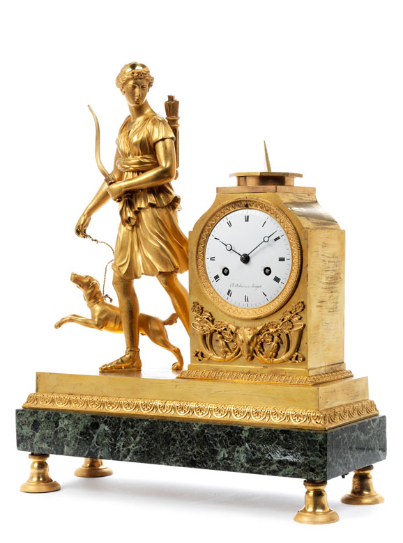 Empire-Pendule Diana , Uhrmacher Charles Oudin