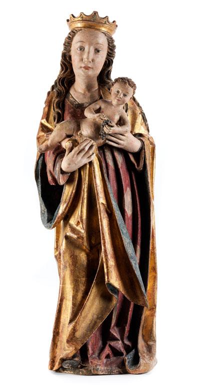 Detailabbildung: Spätgotische Madonnenfigur mit Kind
