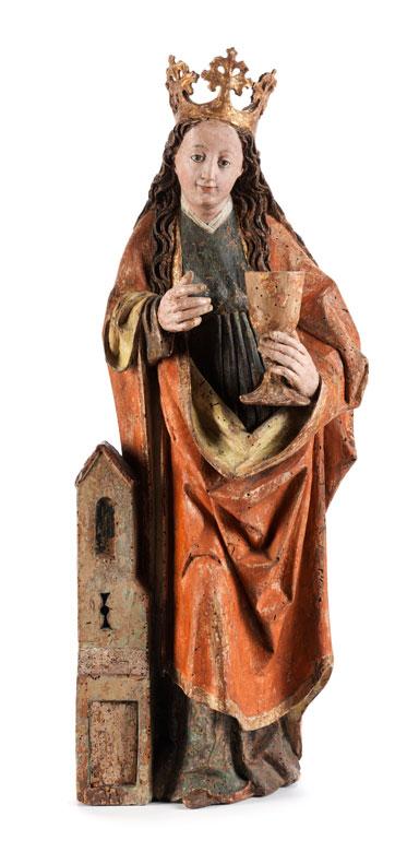 Detailabbildung: Gotische Schnitzfigur der Heiligen Barbara