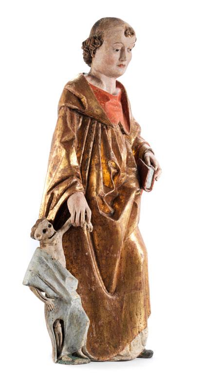 Detailabbildung: Gotische Schnitzfigur des Heiligen Fridolin von Säckingen