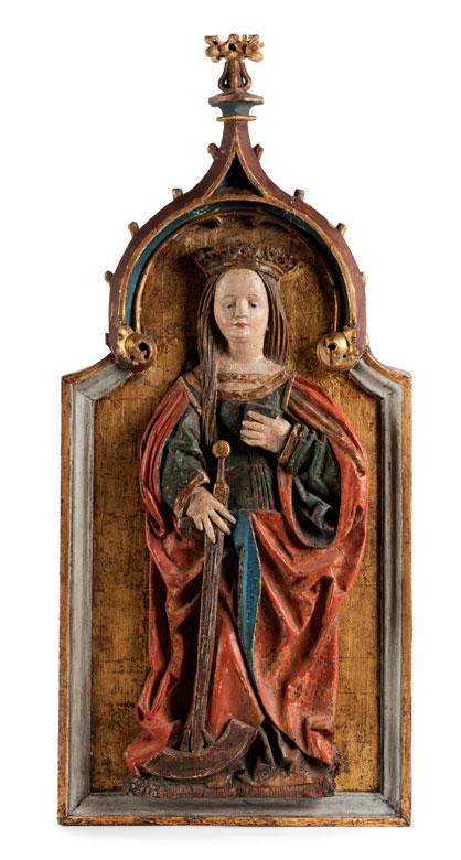 Detailabbildung: Gotisches Schnitzrelief mit Darstellung der Heiligen Katharina