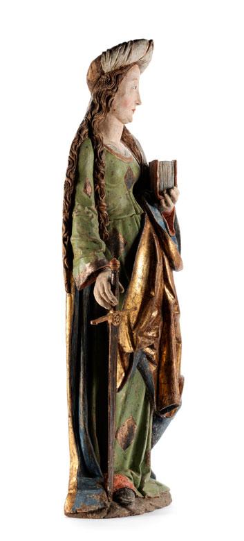 Detailabbildung: Spätgotische Schnitzfigur der Heiligen Katharina