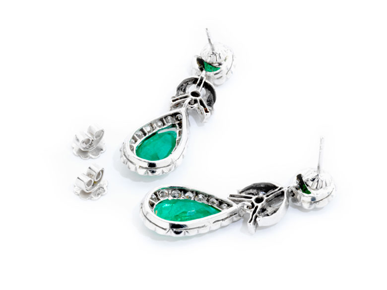 Detailabbildung: Smaragd-Diamantohrhänger
