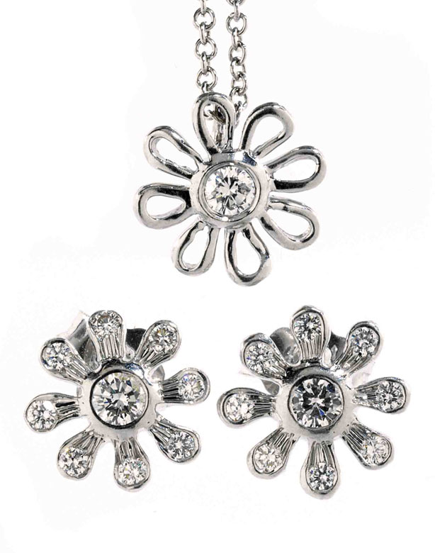 Daisy Flower Brillant-Platinset von Tiffany