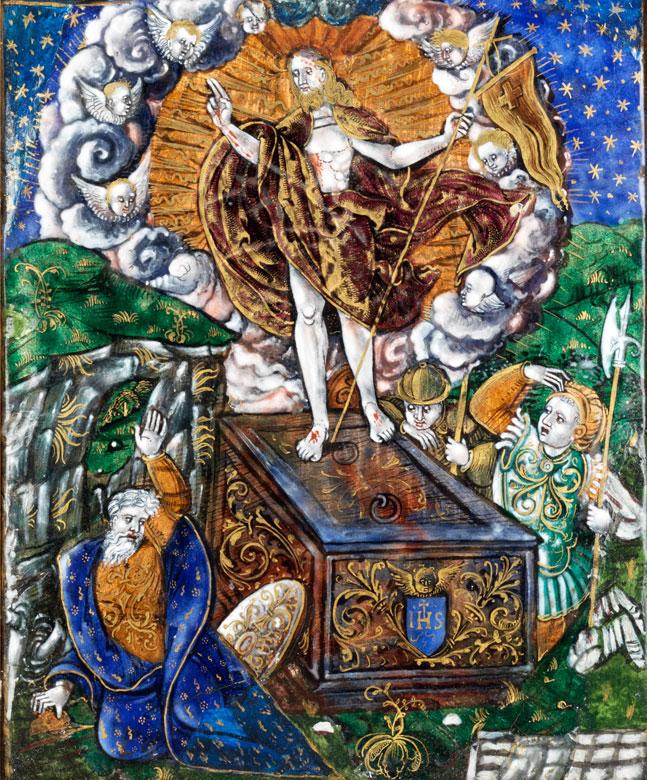 Limoges-Plakette mit Auferstehung Christi