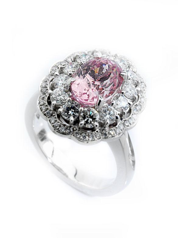 Detailabbildung: Padparadscha-Saphir-Diamantring
