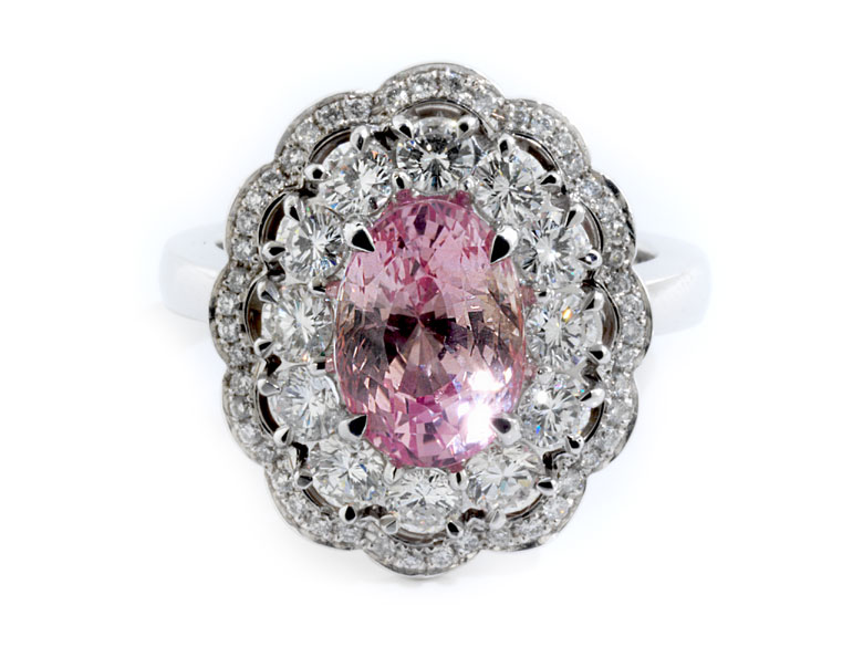 Padparadscha-Saphir-Diamantring