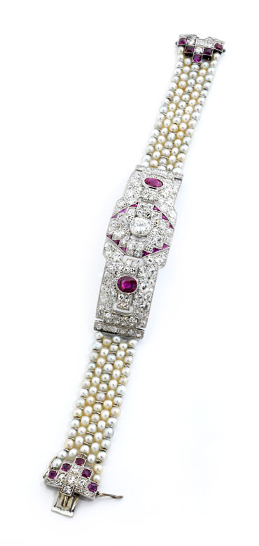 Detailabbildung: Rubin-Diamant-Perlarmband