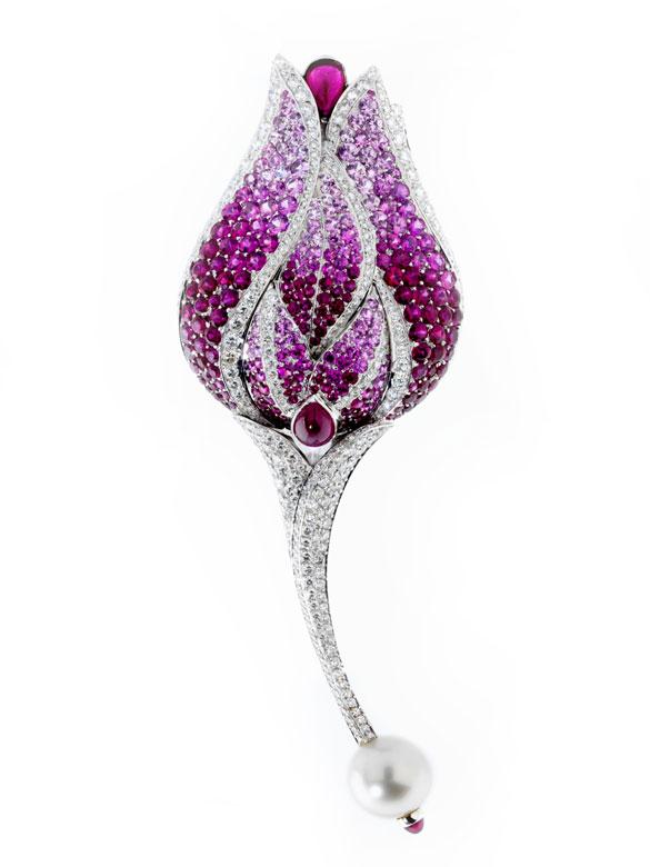 Rubin-Saphir-Diamantbrosche von Fred
