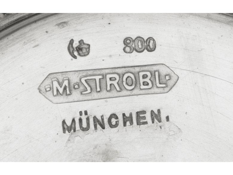 Detailabbildung: Silberner Münchener Jugendstil-Tafelaufsatz