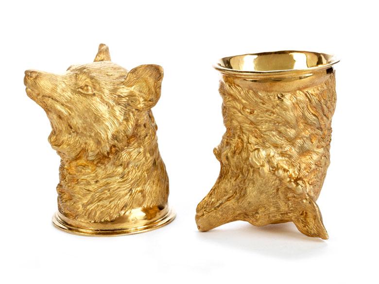 Detailabbildung: Paar silbervergoldete Fuchskopfbecher