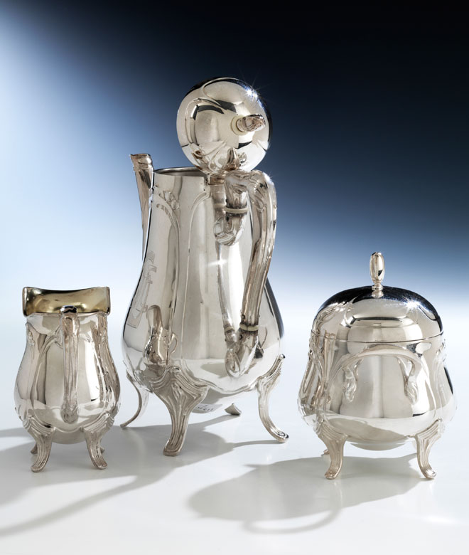 Detailabbildung: Silberne Jugendstil-Kaffeegarnitur