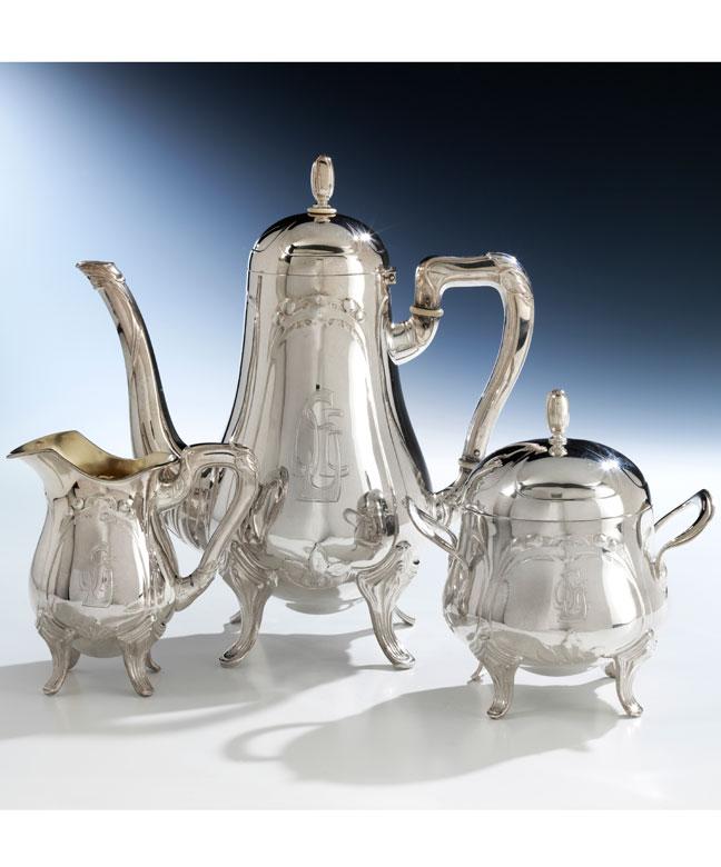 Silberne Jugendstil-Kaffeegarnitur