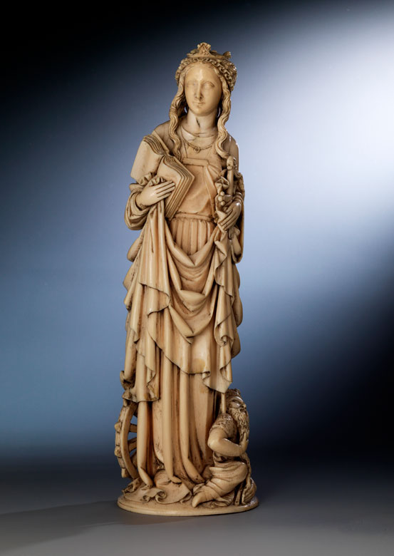 Elfenbein-Schnitzfigur der Heiligen Katharina