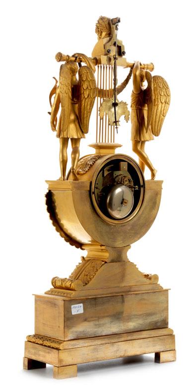 Detailabbildung: Elegante Empire-Kaminuhr mit dem Figurenthema Homer und die Musen