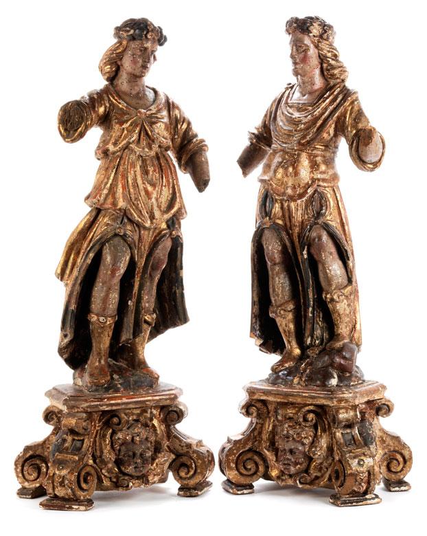 Paar geschnitzte Heiligenfiguren