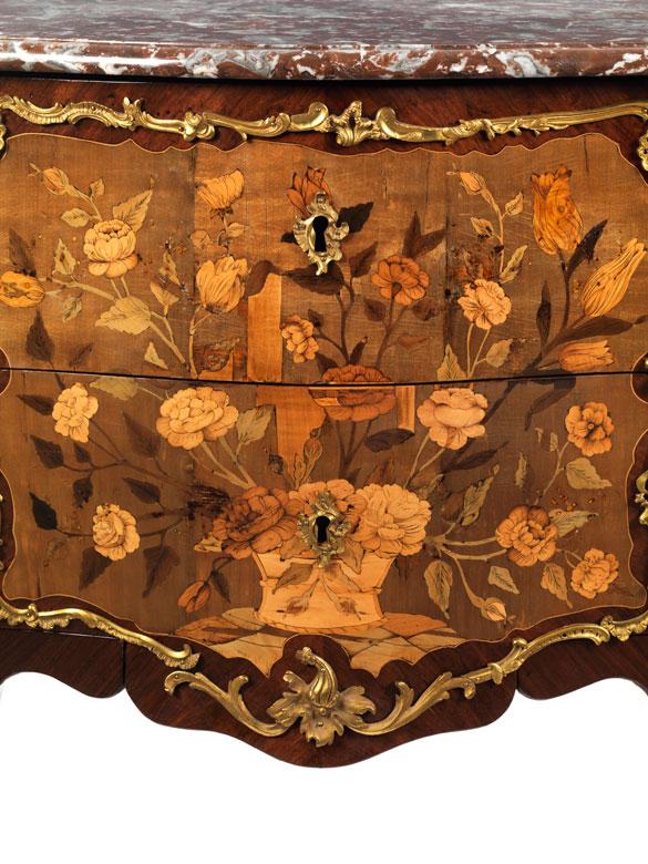 Detailabbildung: Hochfeine Louis XV Kommode, gest. F. Rubestuck und JME