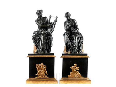 Paar klassizistische Kaminbronzefiguren
