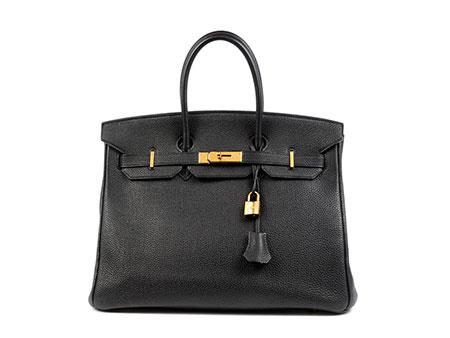 Schwarze Hermès Birkin-Bag, 35 cm