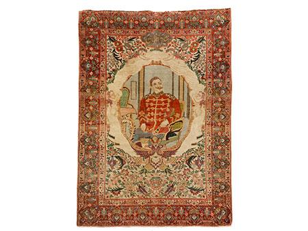 Persischer Teppich mit Darstellung von Kaiser Wilhem II