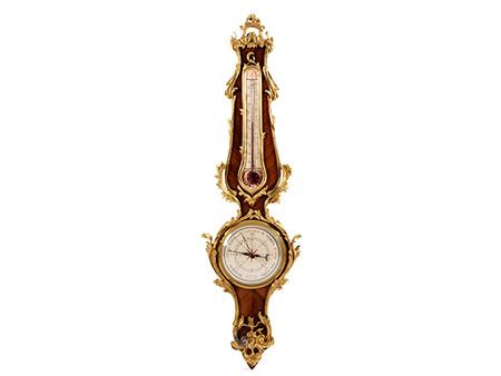 Französisches Barometer aus Rosenholz