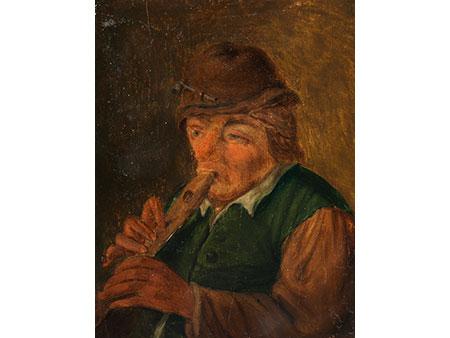 Kleine Darstellung eines bäuerlichen Flötenspielers