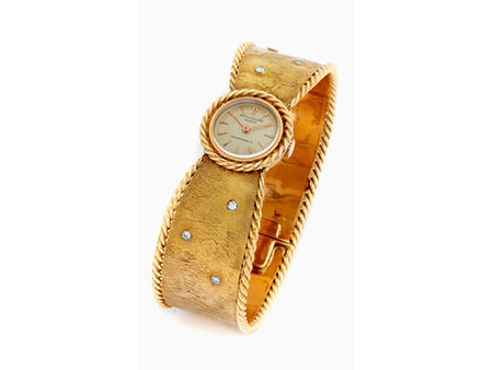 Detailabbildung: Damen PATEK PHILIPPE in Gold mit Goldspangenarmband