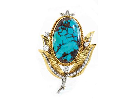 Detail images:  Türkis-Diamant-Blütenbrosche
