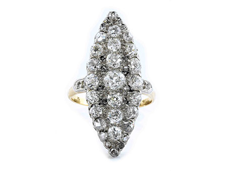 Detail images:  Antiker Marquise-Diamantring