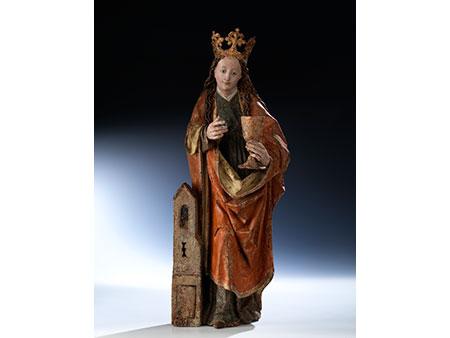 Gotische Schnitzfigur der Heiligen Barbara