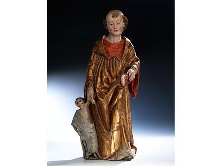 Gotische Schnitzfigur des Heiligen Fridolin von Säckingen