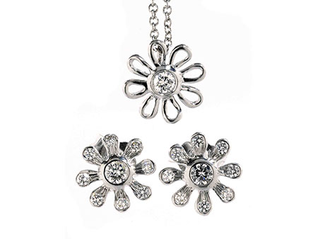 Detail images:  Daisy Flower Brillant-Platinset von Tiffany